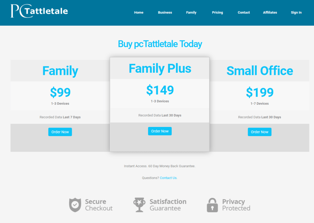 pc tattletale pricing $99 for up to 3 devices